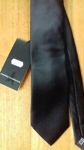 Cravate noire unie Pierre Clarence 100% soie