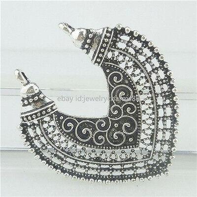 17366 6PCS Tibetan Silver Hollow Love Heart Filigree Pendant Connector