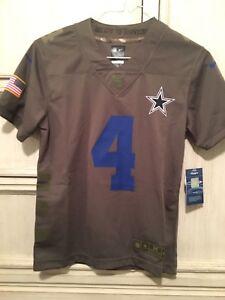 super popular 7458b 3cde1 Details about Dak Prescott Dallas Cowboys Salute to Service Nike Jersey  Youth Medium 10/12
