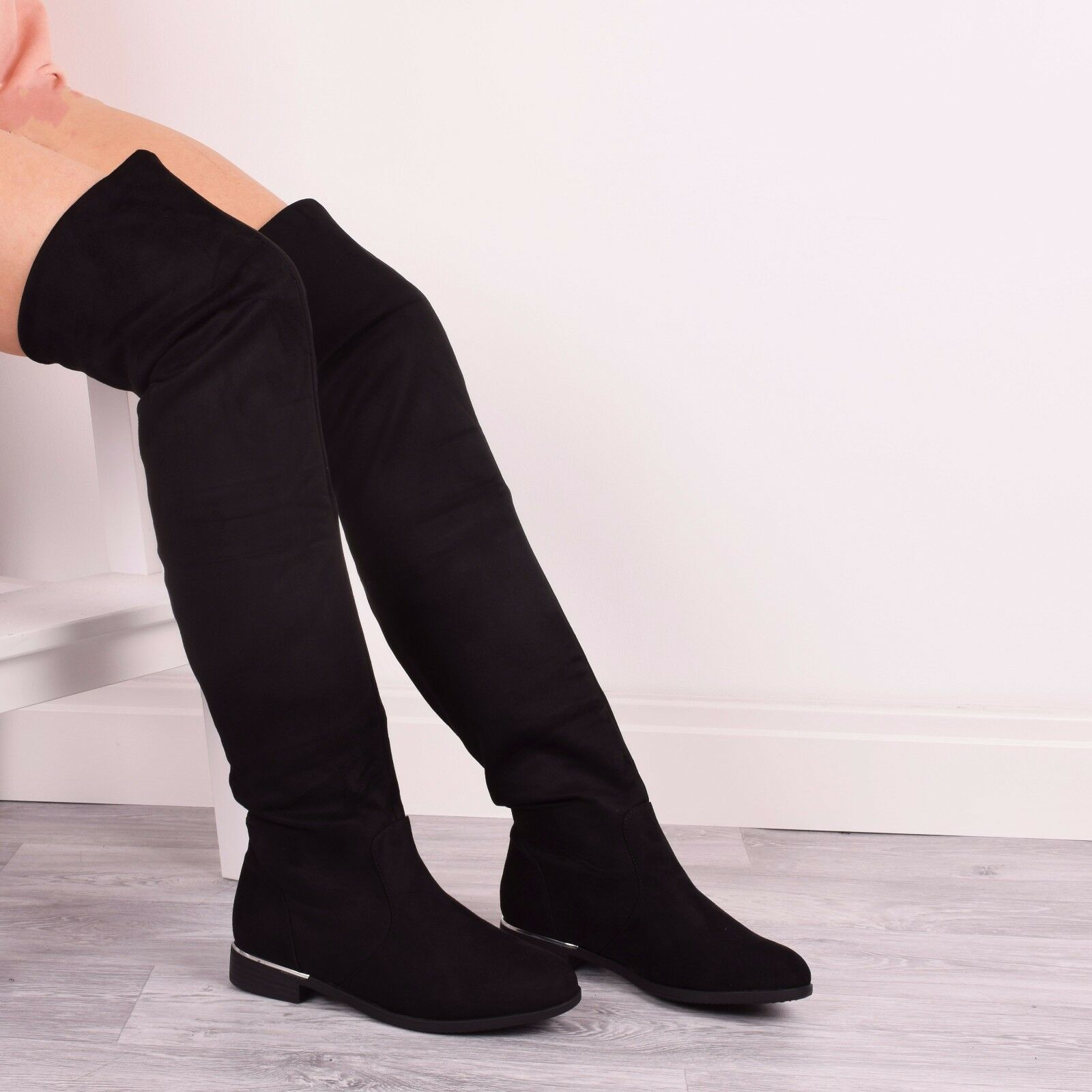 Ladies Womens Flat Boots Thigh High Over The Knee Casual Winter Fashion Size 3-8