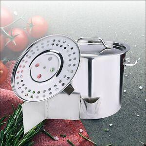 32QT Stockpot Stainless Steel Stock Pot w/Lid Saucepan Outdoor Gas Cooking Pot