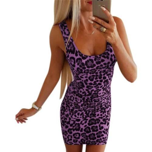 Women Summer Sleeveless Bodycon Dress Ladies Slim Fit Party Mini Pencil Dress UK