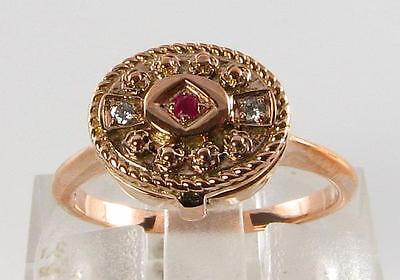 LOVELY 9K 9CT ROSE GOLD RUBY DIAMOND POISON LOCKET RING FREE RESIZE