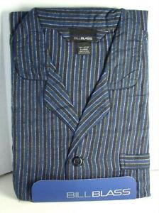 BILL-BLASS-Cotton-Flannel-PJs-PAJAMAS-Set-Blue-Stripe-Mens-size-Large-NWT-NEW