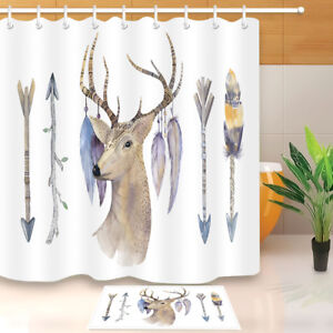 Image Is Loading Deer With Feather Amp Arrow Bathroom Waterproof Fabric