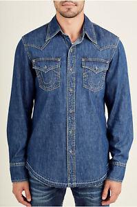 True-Religion-Men-039-s-Long-Sleeve-Western-Shirt-Released-Hem-in-Manhattan-Sand