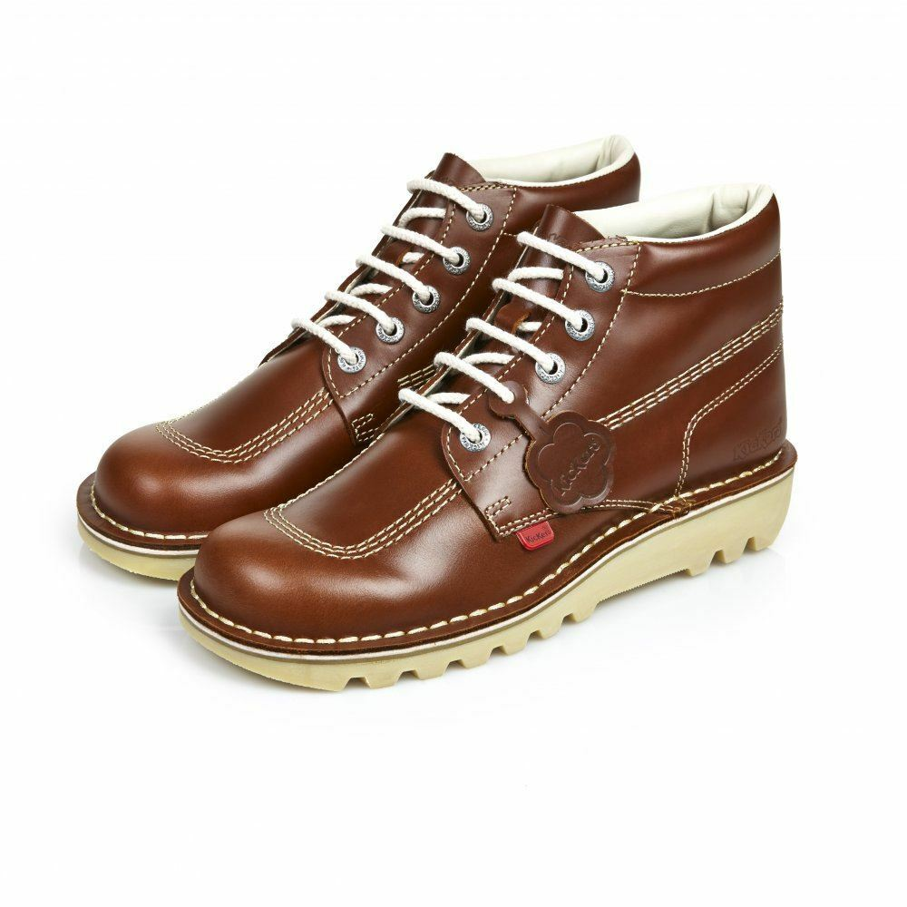 KICKERS KICK HI klassisch Stiefel Schuhe Leder dunkel hellbraun SS17 Gummi