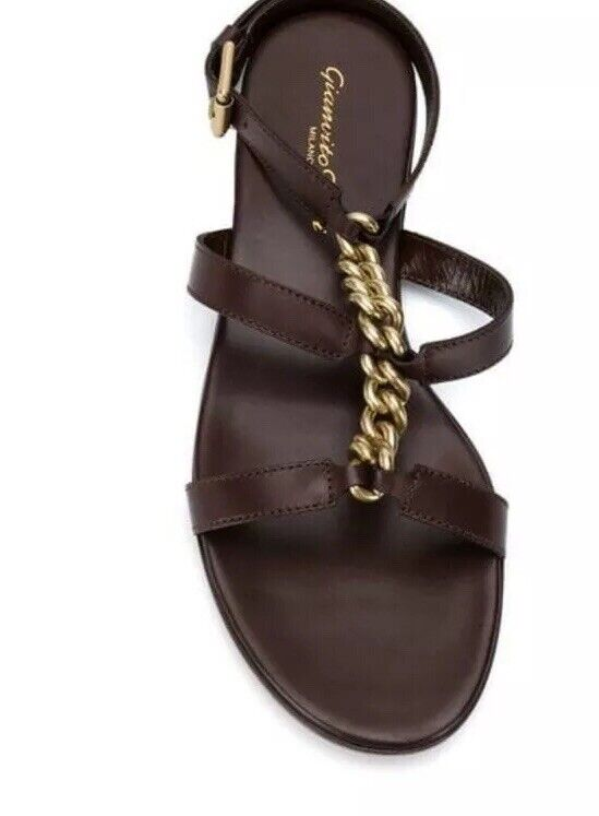 Gianvito rossi Brown Chain Detail Flat  Sandals Size 40 New