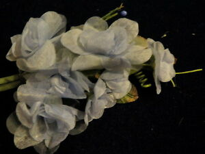 Millinery Flower Cluster Chiffon Organdy Slate Blue for Hat Wedding + Hair K71