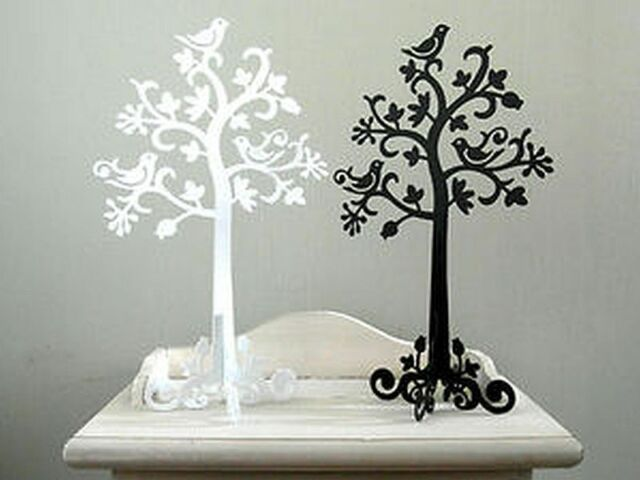 NEW BLACK OR WHITE METAL JEWELLERY TREE DISPLAY STAND HOLDER