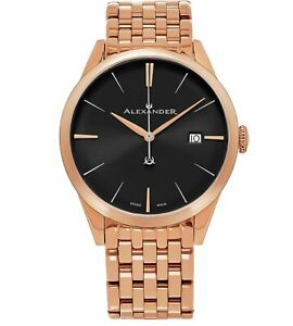 Alexander-Men-039-s-Swiss-Made-Rose-Gold-Stainless-Steel-Link-Bracelet-Quartz-Watch
