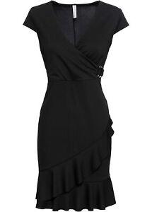 jersey-kleid mit volant gr. 48/50 schwarz mini-abend-party