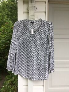 NWT-Talbots-Blue-amp-White-Bird-Cage-Tunic-With-Grosgrain-Ribbon-Trim-1X-14W-16W