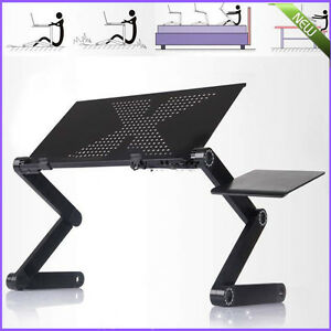 360°Adjustable foldable laptop Notebook Desk Table W/ Fan Hole Stand Bed Tray KG