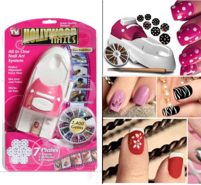 Fashion Hollywood Nails All In One Nail Art System Kit As Seen On Tv