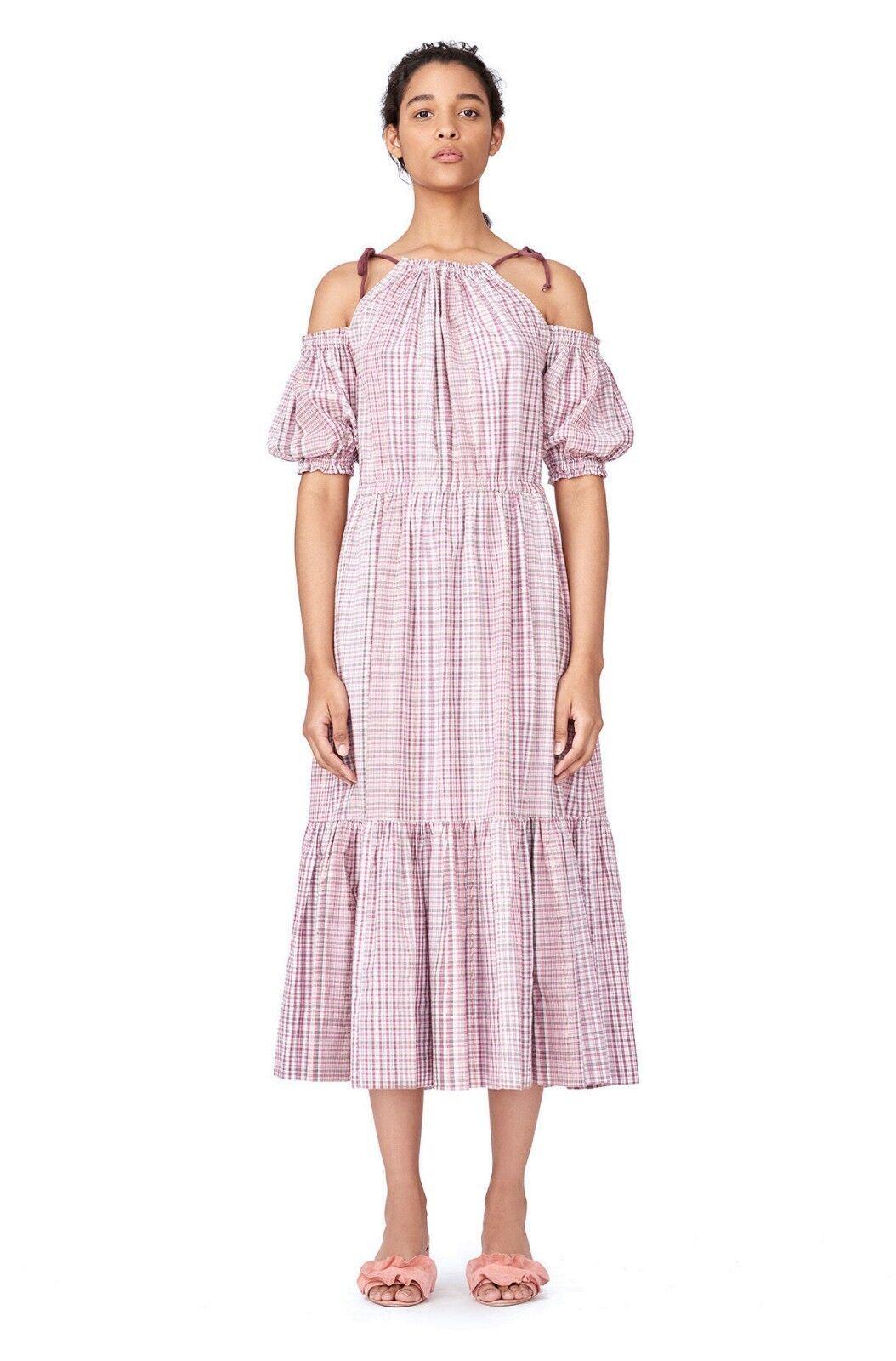 La Vie REBECCA TAYLOR Pink Lurex Metallic Metallic Metallic Plaid Cold Shoulder Midi Dress S 4 6 215832