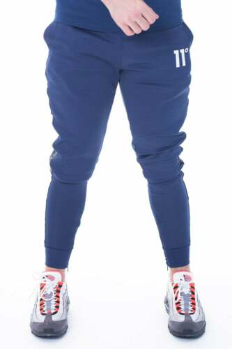 11 Degrees New Mens Poly Joggers Tracksuit Bottoms Skinny Fit Blue Optum