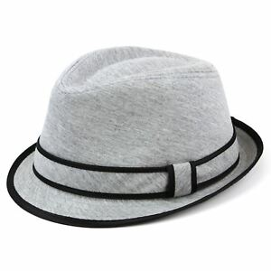 1c08e8e19c8160 Grey Cotton Trilby Hat Colour Contract Brim Band Panel New Women Men ...