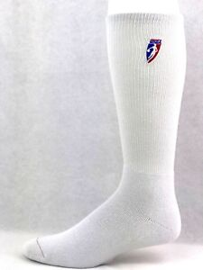 WNBA-Crew-Socks-White-with-Red-White-and-Blue-Logo-New