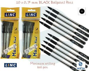 10 x 0.7mm LINC Maxo Fine BLACK Ballpoint Pens Fine Tip Soft Grip Smooth Writing
