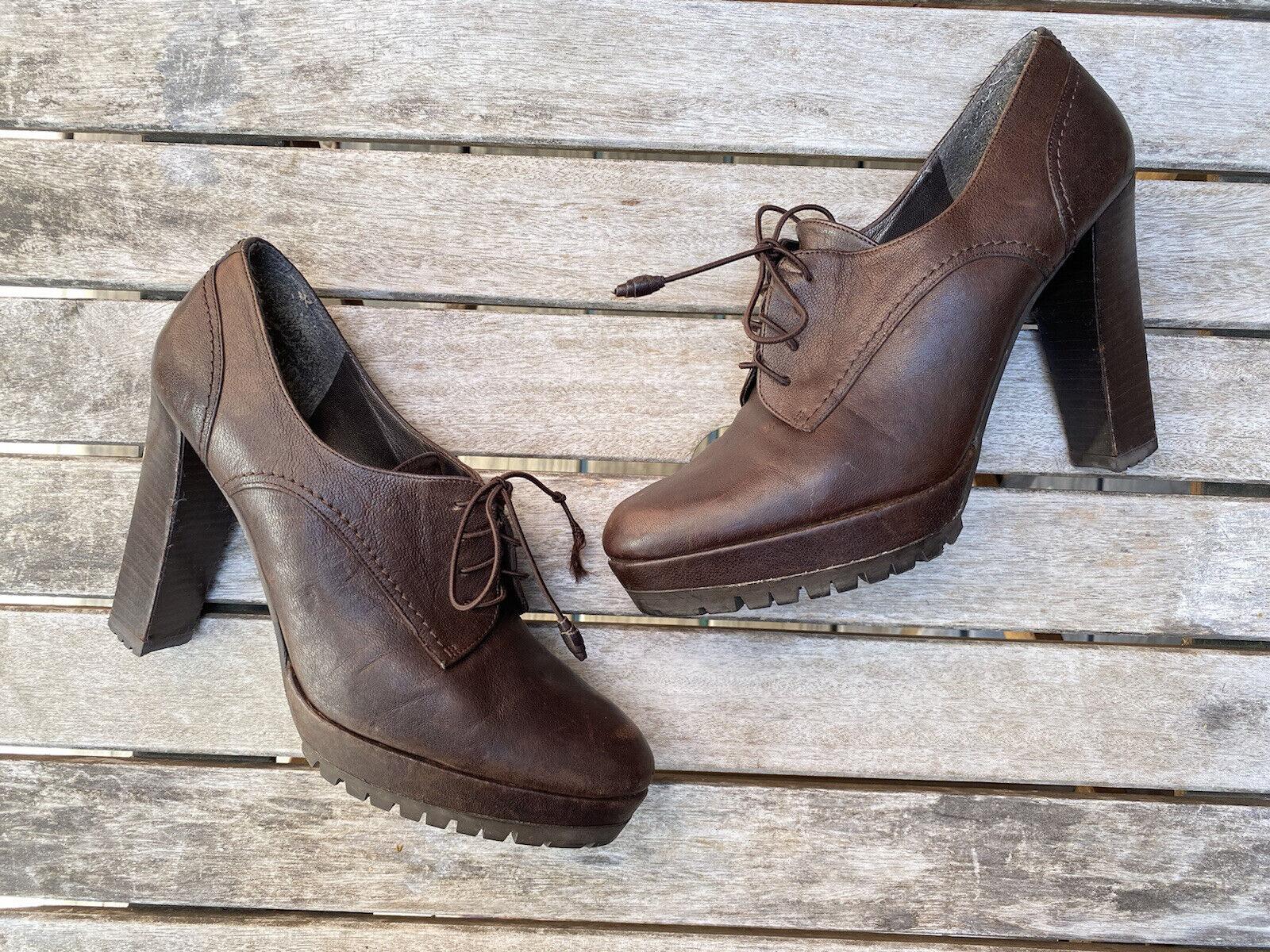 Stuart Weitzman Brown Lace Up Oxford Platform Booties Ankle Boots Shoes