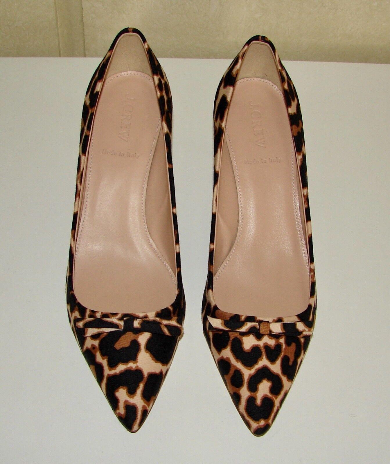 NIB J Crew sz 8 Dulci vivid leopard fabric kitten heel pumps w bow  E4536