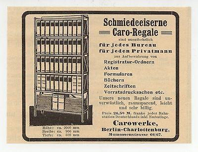Beliebte Marke Berlin Caro-werke Schmiede-eiserne Caro-regale Büro-möbel Werbung 1911