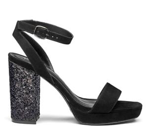 official sale pick up no sale tax Details about Sole Diva Womens UK 7 E Wide Fit Black High Block Heel  Platform Sandals Shoes