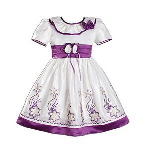 Vestido-Nina-Dama-De-Honor-Flores-Fiesta-en-morado-Color-De-Rosa-Caliente-Azul-9