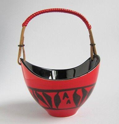 Céramique Signé Elchinger France 50 's Corbeille avec Anse Rotin et Scoubidou
