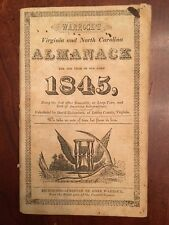 RARE 1845 Warrock's VIRGINIA & NORTH CAROLINA Almanac, Louisa County, VA, 1st ed