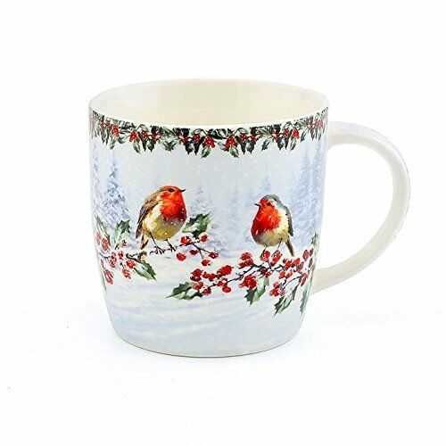 Christmas Robins Mug Festive Coffee Tea Gift Comes Boxed From Leonardo