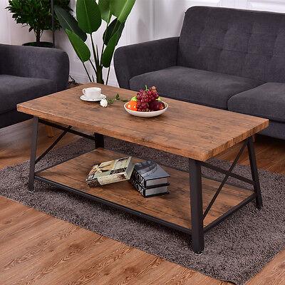Wood Coffee Table Cocktail Sofa Side Table Rectangle Metal Frame w/Storage Shelf