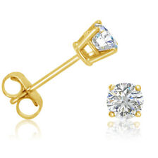 AGS Certified  1/2ct  REAL Diamond Stud Earrings set  in 14K Yellow Gold