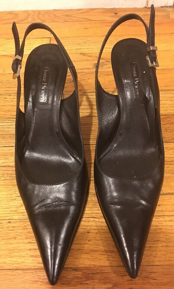 CESARE PACIOTTI SLINGBACK BLACK LEATHER PUMPS SZ 38.5