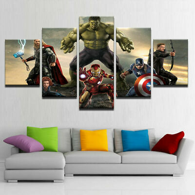 Marvel Avengers Superhero Kids 5 Piece Childrens Bedroom Canvas Art Print Poster