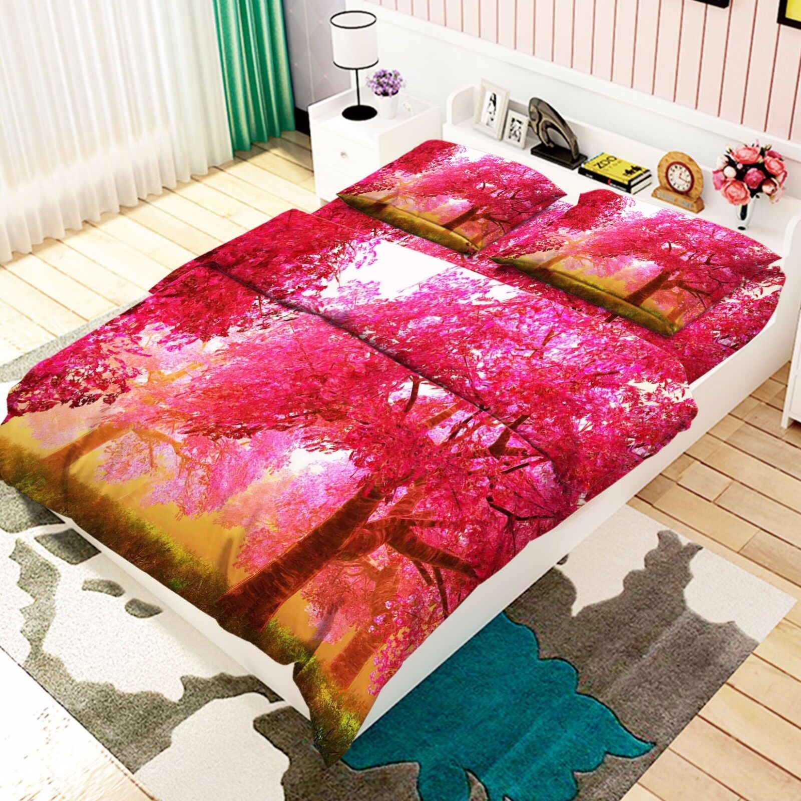 3D Maple Trees 876 Bed Pillowcases Quilt Duvet Cover Set Single Queen UK Kyra