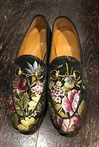 5db7ef084e0 Image is loading Gucci-Jacquard-Floral-Jordaan-Loafers-Size-36