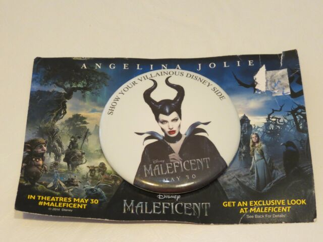 Maleficent movie pin RARE May 30 large button Angelina Jolie Disney Advertising