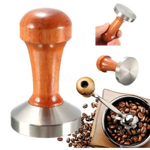 1PC Stainless Steel Wooden Coffee Tamper Tool Accessory With Wood Handle 53mm