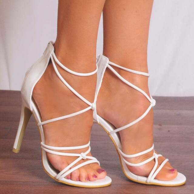 af4f4355b3e White Patent Barely There PEEP Toes Stilettos Strappy Sandals High ...