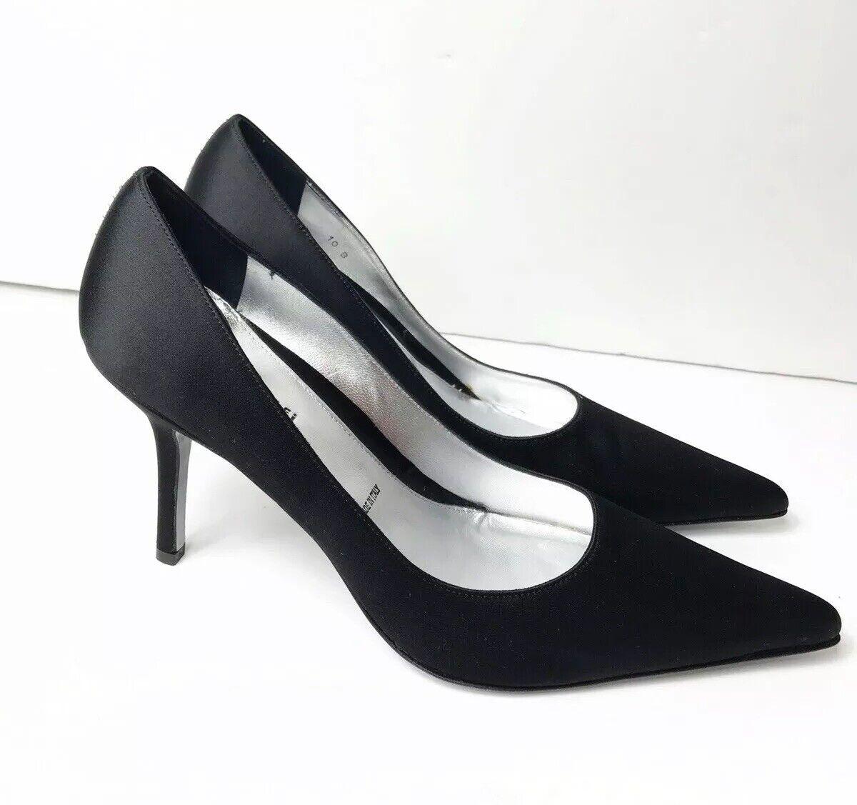 Amalfi 10 Black Satin Stiletto Heels Pumps Pointed Toe Vero Cuoio   250