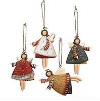 Country Angels Hanging Ornaments Vintage Style Christmas Tree Decoration (1-doz)
