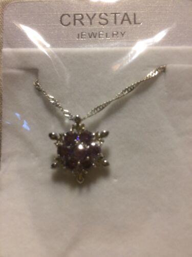 Frozen Purple Gem Snowflake Necklace Brand new