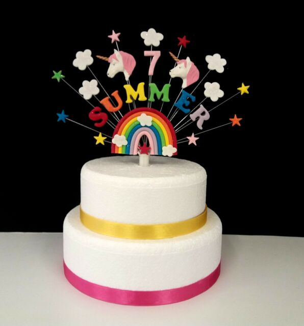Rainbow Unicorn Birthday Cake Topper Personalised Name And Age Decoration