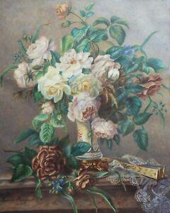 Louise-Bergerot-roblastre-XIX-Xx-Bouquet-de-Roses-and-Fan-Pastel-1868-Fan