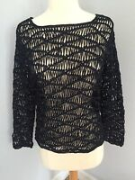 Chico's Midnight Blue Macrame Pullover Sweater Sz 0 Womens