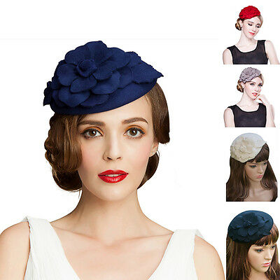 Flower Womens Dress Fascinator 100% Wool Pillbox Hat Derby Party Wedding A083
