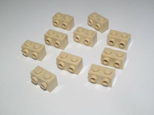 Lego ® Lot x10 Brique Tenons Latéraux Beige 1x2 Brick Studs Tan 11211 NEW