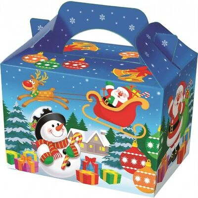 Christmas Party Food Boxes ~ Childrens Xmas Meal Bag Plate Box PLAYWRITE